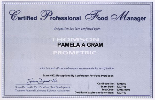 Certified Professional Food Manager